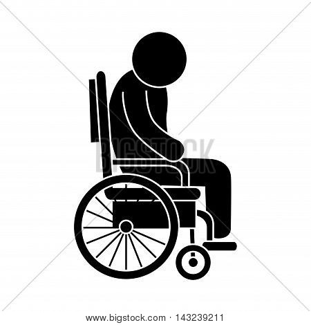 handicapped wheelchair man adult assistance disability patient vector illustration