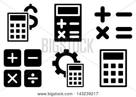 Calculator vector icons. Pictogram style is black flat icons with rounded angles on a white background.