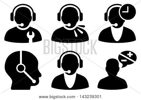 Call Center Operator vector icons. Pictogram style is black flat icons with rounded angles on a white background.