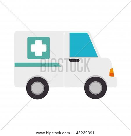 ambulance van medicine cross health rescue paramedic service vector illustration