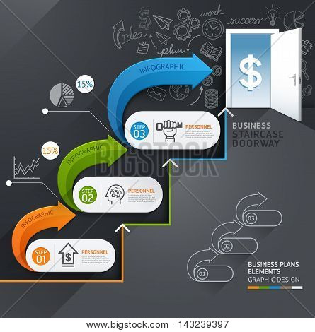 Business staircase doorway conceptual infographics. Vector illustration. Can be used for workflow layout banner number options step up options web design diagram timeline.