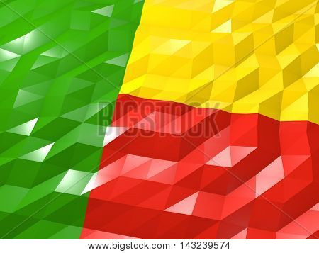 Flag Of Benin 3D Wallpaper Illustration