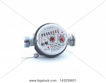 New water meter on white background isolated
