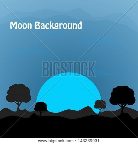 Moonlight background. nature background. vector illustration. Desert