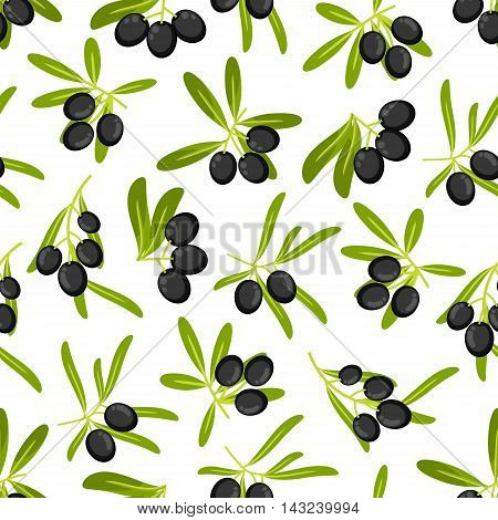 Olive branches seamless background. Wallpaper with vector pattern icons of black olives with green leaves for kitchen decoration, tablecloth