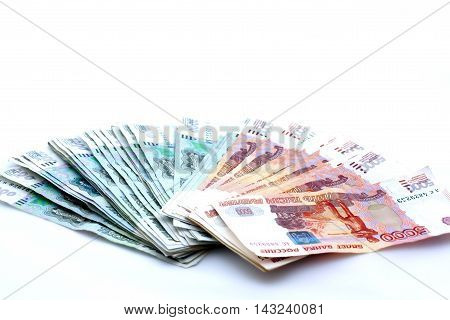 Russian Banknotes On White