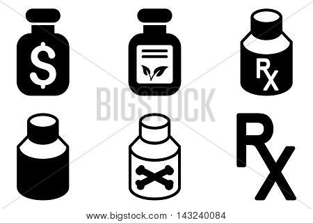 Drugs Vial vector icons. Pictogram style is black flat icons with rounded angles on a white background.