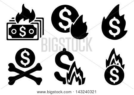Fire Disaster vector icons. Pictogram style is black flat icons with rounded angles on a white background.