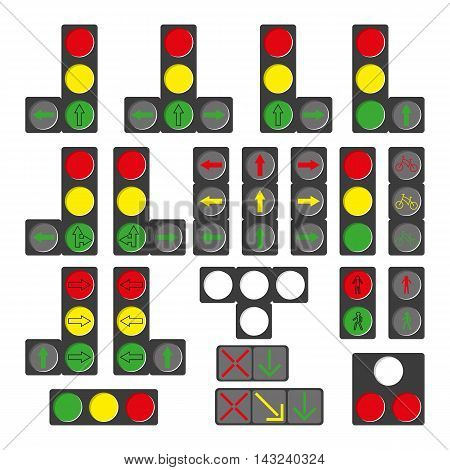 Set of different traffic lights isolated on white. Vector illustration.