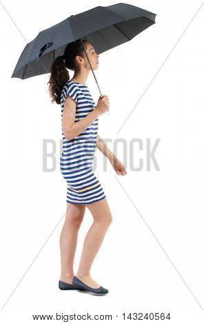 young woman in dress walking under an umbrella. Rear view people collection.  backside view of person.  Isolated over white background. Swarthy girl in a checkered dress comes under the umbrella.