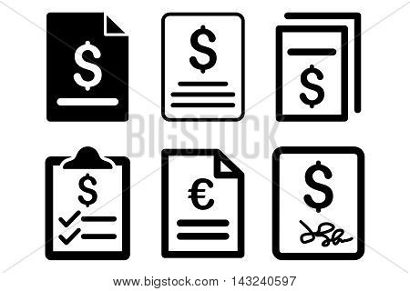 Invoice vector icons. Pictogram style is black flat icons with rounded angles on a white background.