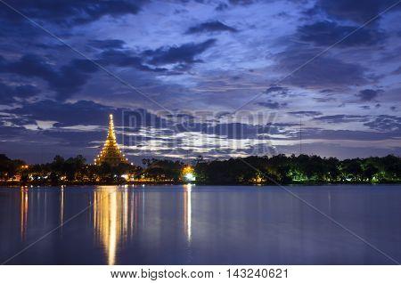 landscape sunset night Khon Kaen, southeast, Thailand