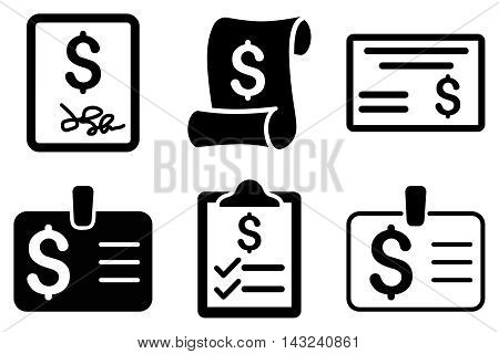 Payment Cheque vector icons. Pictogram style is black flat icons with rounded angles on a white background.