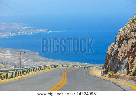 New curvy road near Chora Sfakion town on Crete Greece