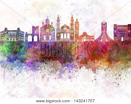 Algiers skyline artistic abstract in watercolor background