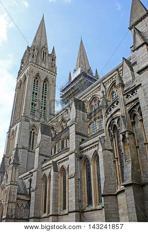 Exterior of Truro Cathedral in Cornwall, England
