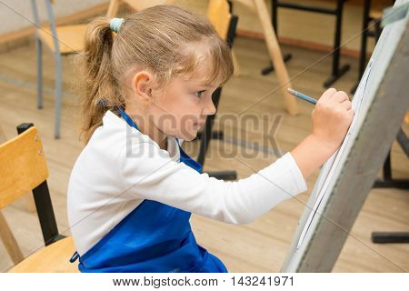 Five-year Girl Paints On An Easel In The Drawing Lesson