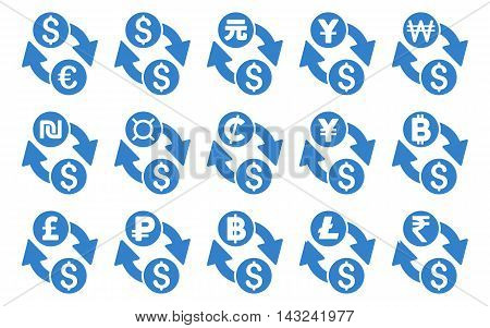 All Currency Exchange vector icons. Pictogram style is cobalt flat icons with rounded angles on a white background.