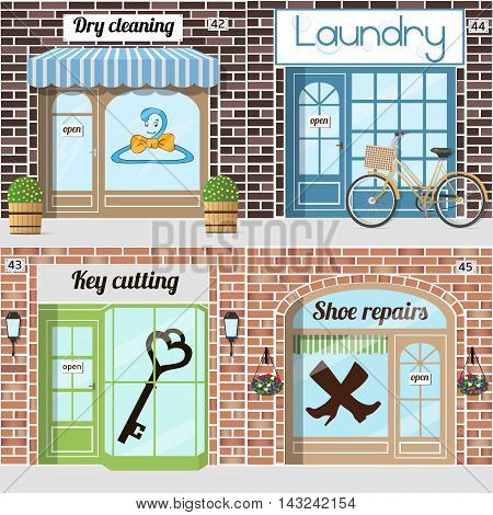 Set of various servicies. Key cutting Shoe repairs dry cleaning Laundry. Vector illustration