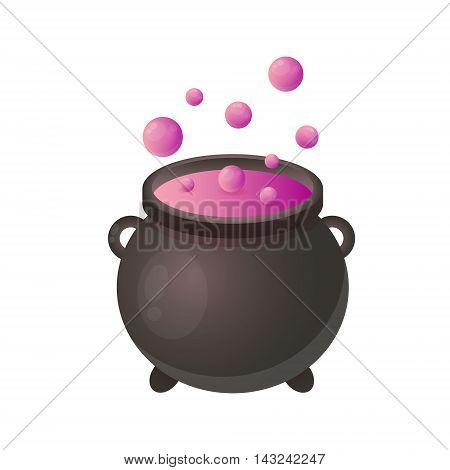 Cauldron witch isolated on white background. Game Design. Vector illustration