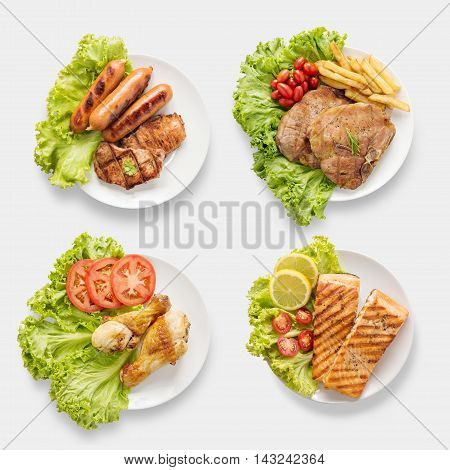 Design Of Mockup Bbq Grilled Sausages, Chicken, Salmon, Pork Chop, Beef Set Isolated On White Backgr