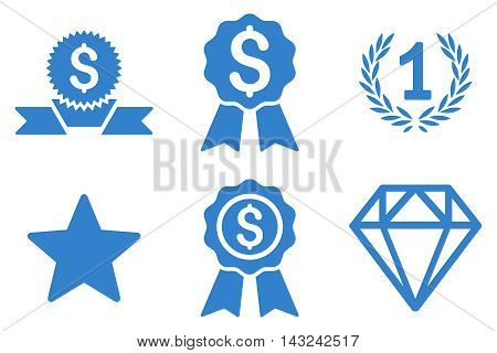 Award vector icons. Pictogram style is cobalt flat icons with rounded angles on a white background.