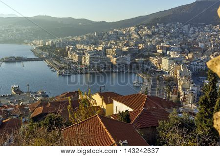 Sunset Panorama to port of Kavala, East Macedonia and Thrace, Greece