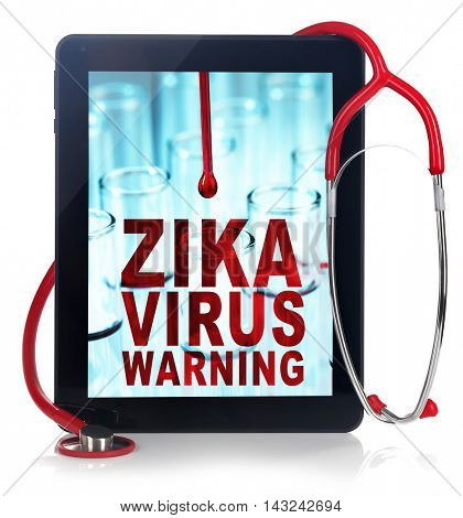 Zika virus danger concept. Text zika virus control on tablet screen.  Tablet and stethoscope on white background.