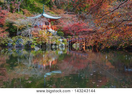 Beautiful Japanese garden in autumn season at world heritage Daigoji Temple Kyoto