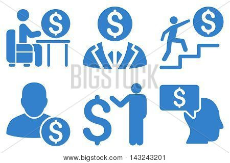 Businessman vector icons. Pictogram style is cobalt flat icons with rounded angles on a white background.