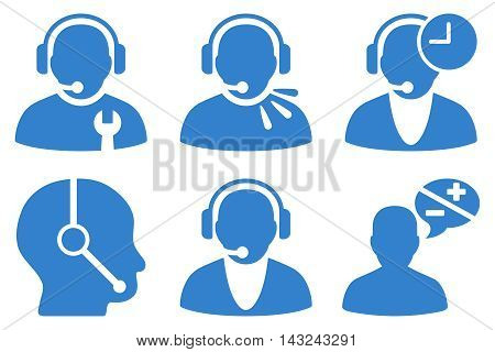 Call Center Operator vector icons. Pictogram style is cobalt flat icons with rounded angles on a white background.
