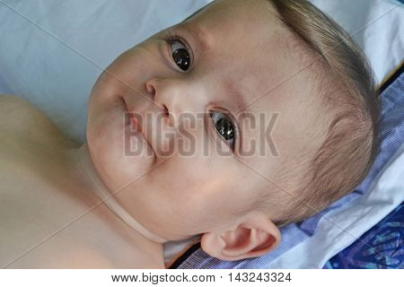 Little happy baby smiling portrait