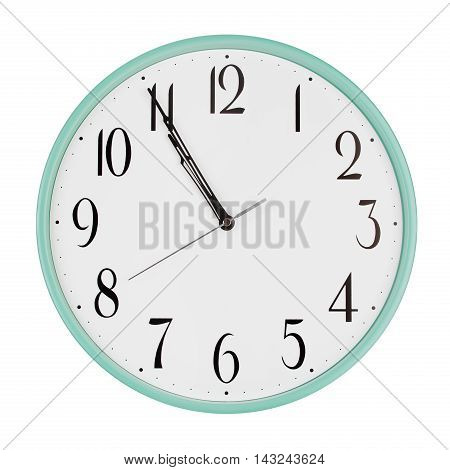 Five minutes to eleven on round clock