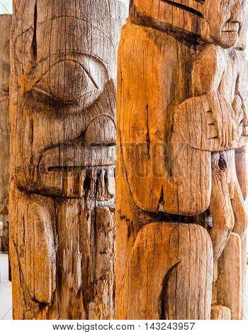 Some Ancient Inuit Totem Poles in Alaska