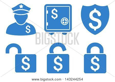 Financial Guard vector icons. Pictogram style is cobalt flat icons with rounded angles on a white background.