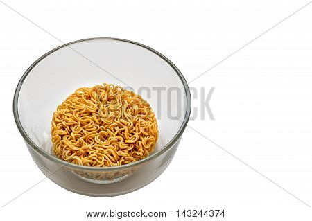 Noodles in a bowl on a white background.
