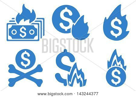 Fire Disaster vector icons. Pictogram style is cobalt flat icons with rounded angles on a white background.