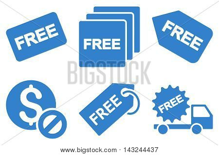 Free Tag vector icons. Pictogram style is cobalt flat icons with rounded angles on a white background.