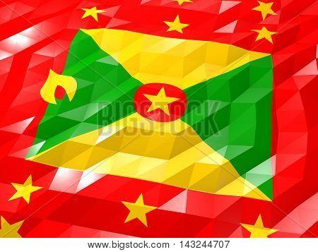 Flag Of Grenada 3D Wallpaper Illustration