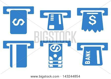 Pay Box vector icons. Pictogram style is cobalt flat icons with rounded angles on a white background.