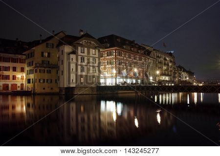 Night panoramic view of Lucern and Reuss River, Canton of Lucerne, Switzerland