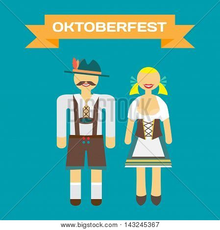 Set of characters in a flat style Oktoberfest. Man and woman in folk costumes. Flat cartoon vector illustration.