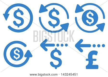 Refund vector icons. Pictogram style is cobalt flat icons with rounded angles on a white background.