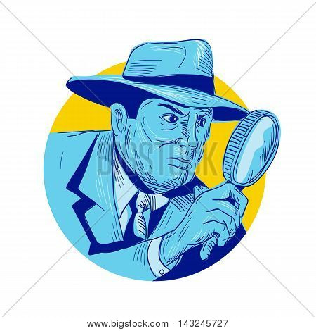 Drawing sketch style illustration of a detective policeman police officer holding magnifying glass set inside circle on isolated background.