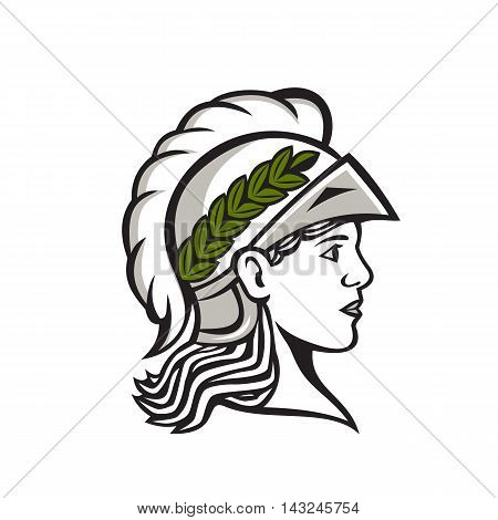 Illustration of Minerva or Menrva the Roman goddess of wisdom and sponsor of arts trade and strategy wearing helment and laurel crown head viewed from side set on isolated white background.