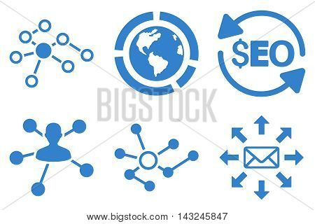 Seo Link Building vector icons. Pictogram style is cobalt flat icons with rounded angles on a white background.