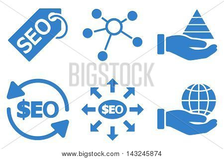 Seo Marketing vector icons. Pictogram style is cobalt flat icons with rounded angles on a white background.