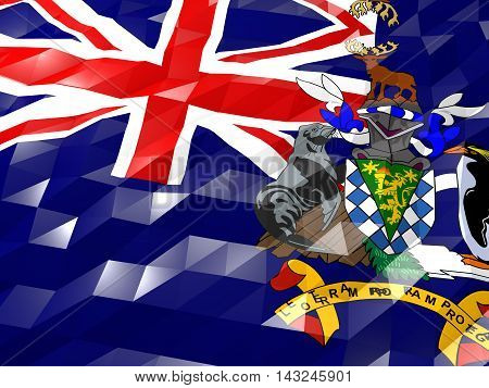 Flag Of South Georgia And The South Sandwich Islands 3D Wallpaper Illustration