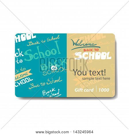 Children things and stationery. Sale discount gift card. Branding design for children's stores and goods for schools