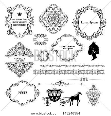 Mega set collections of vintage design elements. Royalty frames, borders, dividers, damask signs, carriage in black color on white. Vector illustration. Can use for birthday card, wedding invitations.